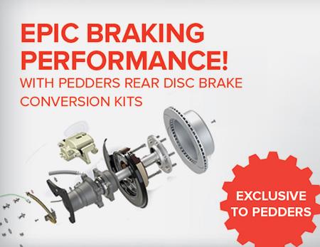 Pedders Epic Braking Performance with rear disc brake conversion kits